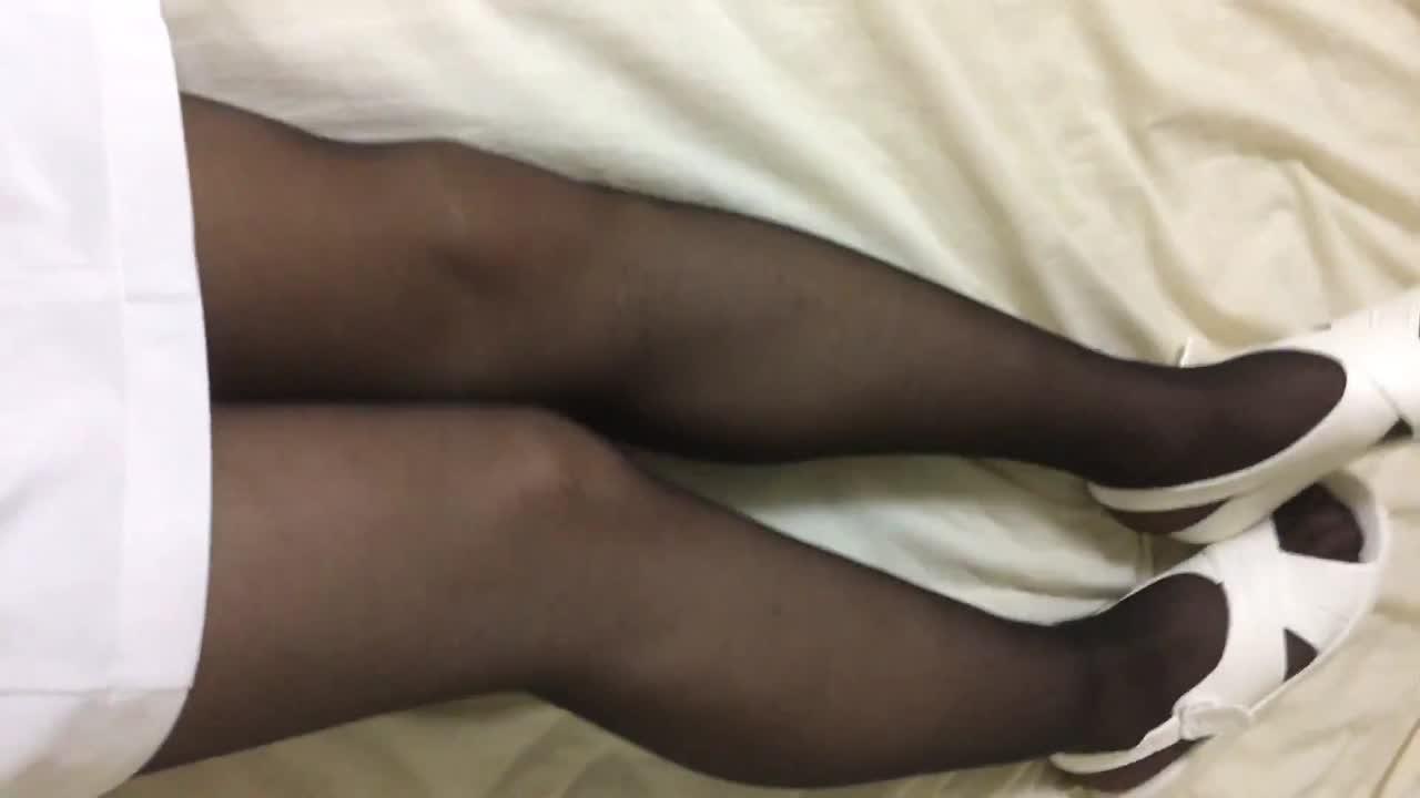 【女装】ナースコスプレ 黒パンスト 脚フェチ 黒ストッキング